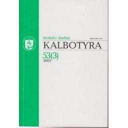 Kalbotyra 2003 53 (3)/ Mokslo darbai